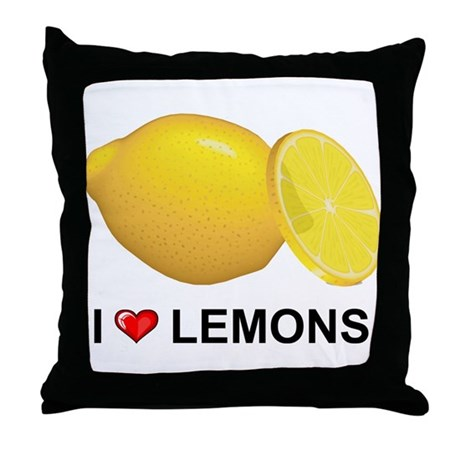 I Love Lemons Throw Pillow