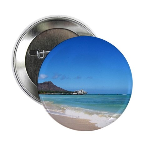 "Waikiki Beach~XOXO HAWAII 2.25"" Button"