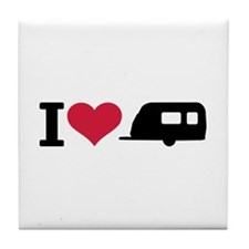 I love camping - trailer Tile Coaster