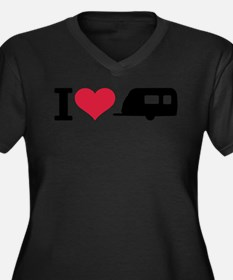 I love camping - trailer Women's Plus Size V-Neck