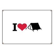 I love camping - tent Banner