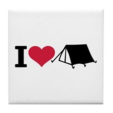 I love camping - tent Tile Coaster