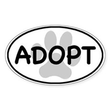 Adopt Paw White Oval Decal