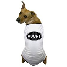 Adopt Paw Black Oval Dog T-Shirt