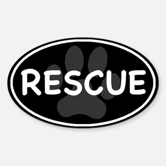 Rescue Paw Black Oval Sticker (Oval)