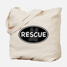 Rescue Paw Black Oval Tote Bag