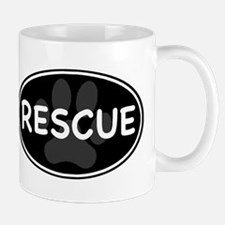 Rescue Paw Black Oval Mug