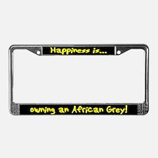 HI Owning African Grey License Plate Frame