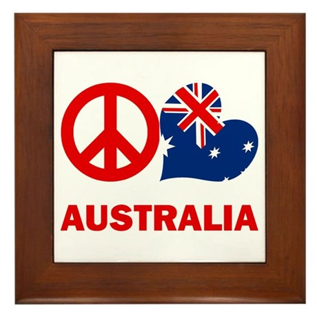 Peace Love Australia Framed Tile