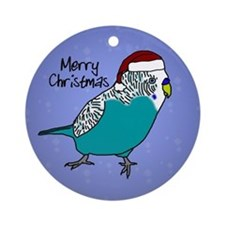 Santa Budgie Blue Ornament