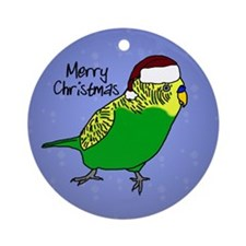 Santa Budgie Green Ornament