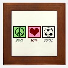 Peace Love Soccer Framed Tile