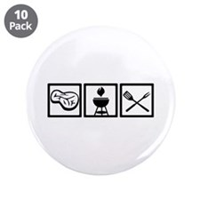 """BBQ - Barbecue Gear 3.5"""" Button (10 pack)"""