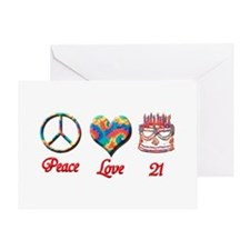 peace love 21 Greeting Cards