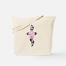 Breast Cancer Ribbon Cross black Tote Bag