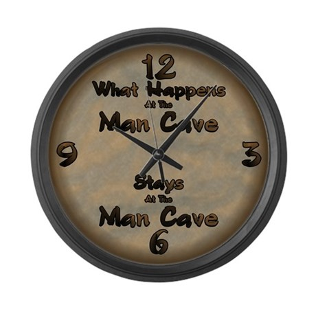 What Happens At The Man Cave.. Large Wall Clock