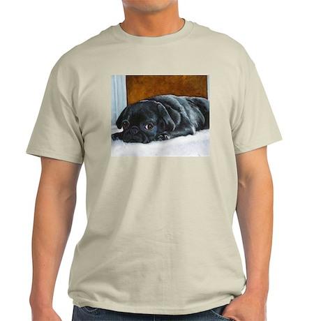 Resting Black Pug Puppy Ash Grey T-Shirt