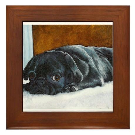 Resting Black Pug Puppy Framed Tile