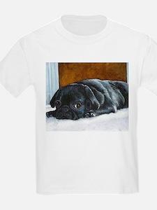 Resting Black Pug Puppy Kids T-Shirt