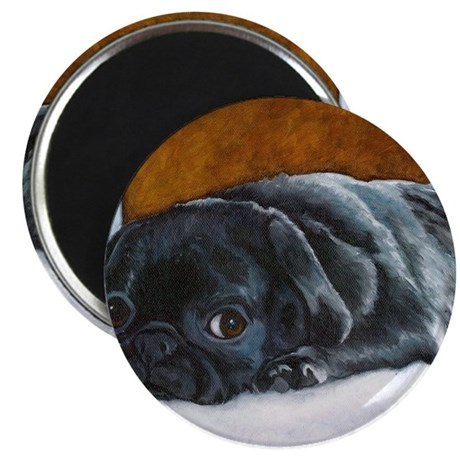 "Resting Black Pug Puppy 2.25"" Magnet (100 pack)"