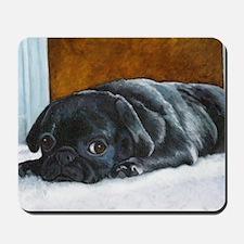 Resting Black Pug Puppy Mousepad