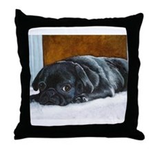 Resting Black Pug Puppy Throw Pillow