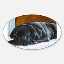 Resting Black Pug Puppy Oval Decal