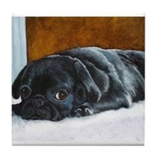 Resting Black Pug Puppy Tile Coaster