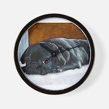 Resting Black Pug Puppy Wall Clock