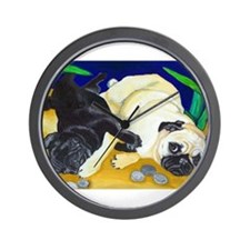 Pug Play Wall Clock