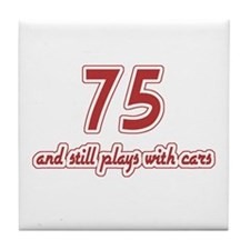 Car Lover 75th Birthday Tile Coaster