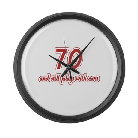 Car Lover 70th Birthday Large Wall Clock