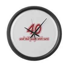 Car Lover 40th Birthday Large Wall Clock