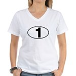 Number One Oval (1) Women's V-Neck T-Shirt