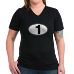 Number One Oval (1) Women's V-Neck Dark T-Shirt