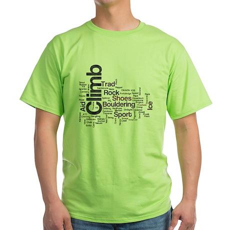 Climbing Words Green T-Shirt