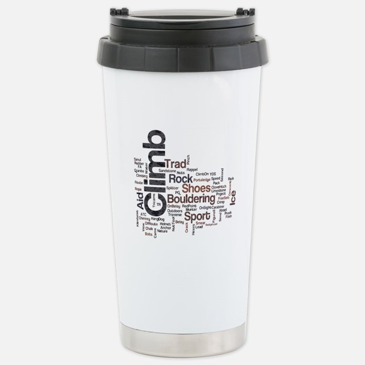 Climbing Words Stainless Steel Travel Mug