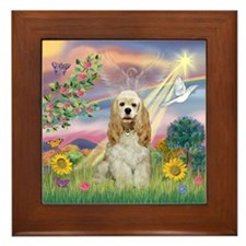 Cloud Angel/Cocker Spanie Framed Tile