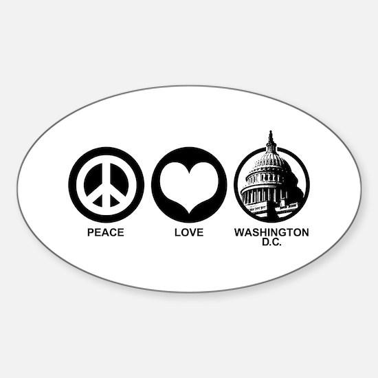 Peace Love Washington D.C. Sticker (Oval)