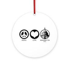 Peace Love Washington D.C. Ornament (Round)