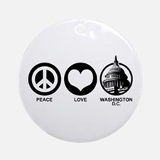 Peace Love Washington D.C. Ornament (Round)