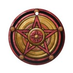 Red Pentacle w/gold Ornament (Round)