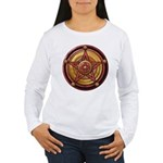 Red Pentacle w/gold Women's Long Sleeve T-Shirt