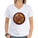 Red Pentacle w/gold Women's V-Neck T-Shirt
