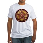 Red Pentacle w/gold Fitted T-Shirt