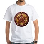 Red Pentacle w/gold White T-Shirt