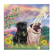 Cloud Angel & 2 Pugs Tile Coaster