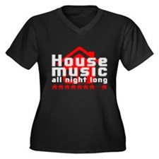 Unique I love house music Women's Plus Size V-Neck Dark T-Shirt