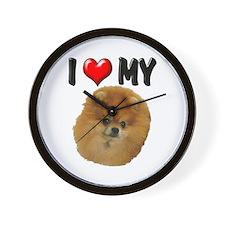 I Love My Pomeranian Wall Clock