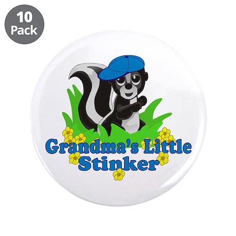 "Grandma's Little Stinker Boy 3.5"" Button (10 pack)"
